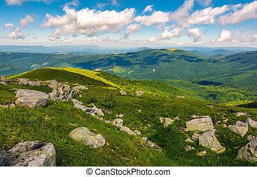 green rolling hills of Carpathian mountains. beautiful...