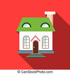 Green roof house icon, flat style