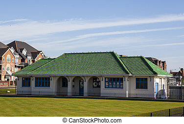 Green roof tiles on clubhouse - This picture of an old...