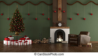Green room with Christmas tree