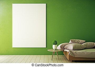 Green room with empty whiteboard