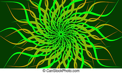 Green rotating patterned colorful spiral, Abstract waves background.