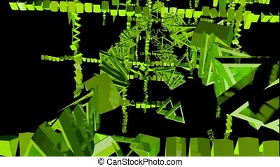 green rotating triangles . abstract 3d graphics , vj -...