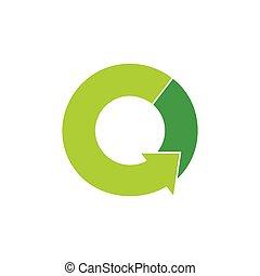 green rotation arrow circle symbol logo vector