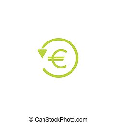 green round arrow with green euro. Flat icon. Isolated on white. Currency exchange icon.