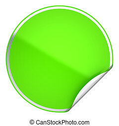 Green round bent sticker or label over white background