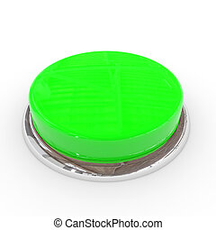 Green round blank 3d button with chrome ring.