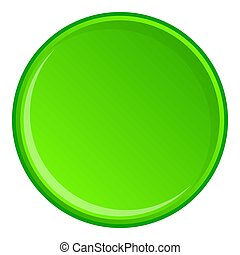 Green round button icon, cartoon style