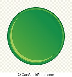 Green round button icon, cartoon style