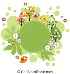 Green round frame with birds, trees and flowers