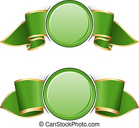 Green round frame with ribbon
