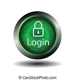 Green round Glossy Login icon