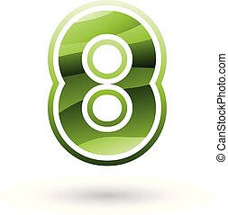 Green Round Icon for Number 8 Vector Illustration