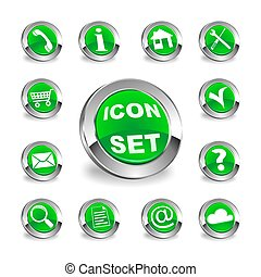 green round icon set