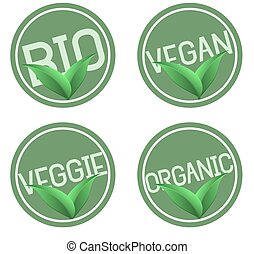 green round organic bio natural food logos with leaves