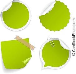 Green round vector sticker set