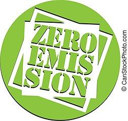 green round zero emission label or stamp