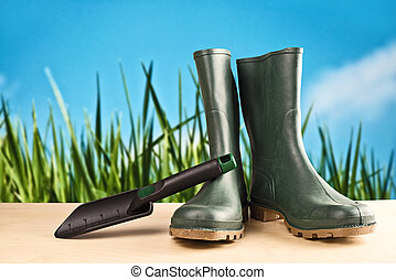 Green rubber boots for garden work - Green rubber boots....