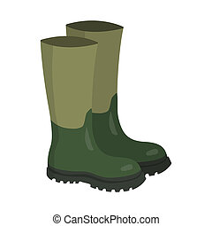 Green rubber hunters and fisherman high boots - Pair of...