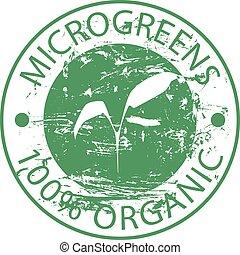 Green rubber round stamp Microgreen