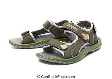green rubber sandal on a white background
