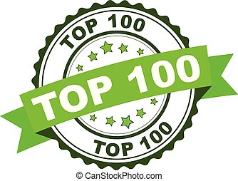 Green rubber stamp with Top 100 concept