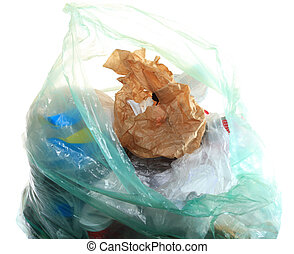 Green rubbish bag with garbage - Green rubbish bag with...