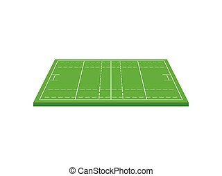 Green rugby field. View from above. Vector illustration on white background.