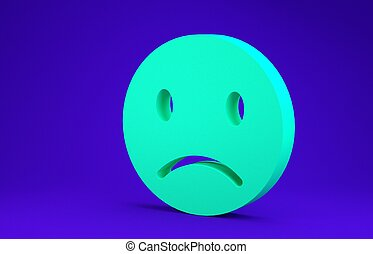 Green Sad smile icon isolated on blue background. Emoticon face. Minimalism concept. 3d illustration 3D render