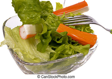 Green salad in a glass bowl