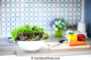 Green Salad in domestic kitchen