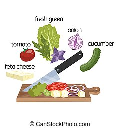 Green salad ingredient cut for the vegetarian
