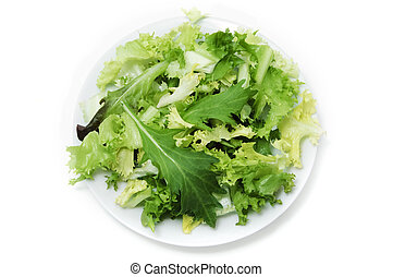 green salad plate on a white background