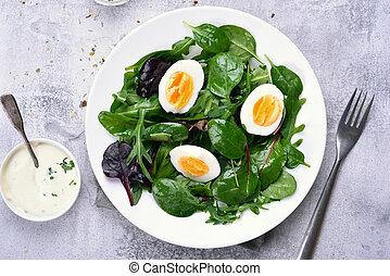 Green salad, top view