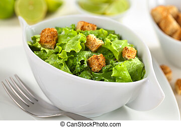Green salad with croutons - Green salad with yogurt dressing...