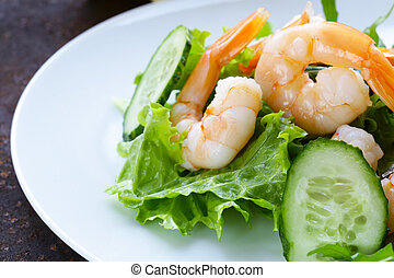 green salad with fresh cucumbers