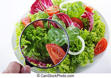 green salad with magnifying glass