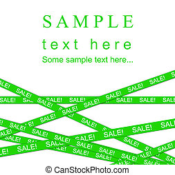 Green SALE ribbon. Isolated on white background.