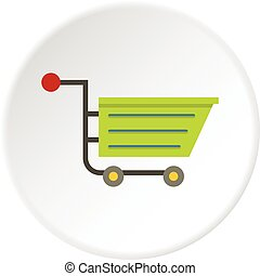 Green sale shopping cart icon circle