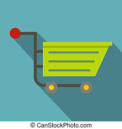 Green sale shopping cart icon, flat style