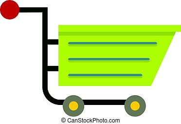 Green sale shopping cart icon isolated