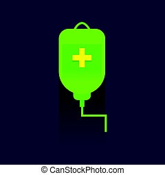green Saline bag icon. Drug. Vector Illustration. Realistic With Soft Shadow In Front Isolated on blue background. logo. Symbols.