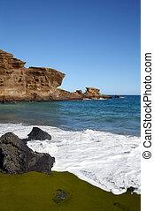 Green sand beach on Hawaii