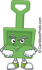 Green sand bucket cartoon character design with sneaky face