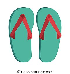 Green sandals with red