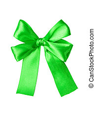 Green satin gift bow. Tape. Isolated on white