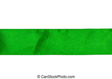 Green satin ribbon isolated on white background with clipping path