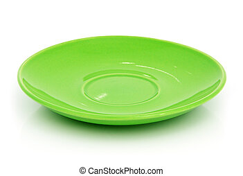 Green saucer - A green saucer on the white background