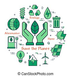 Green Save the Planet concept