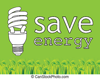 Green saving - Save energy green background with light bulb